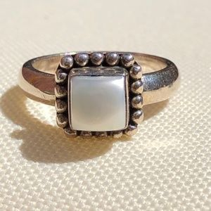 Silpada Pearl Button Frame Sterling Silver Ring
